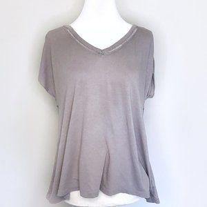 American Eagle Gray Dolman Lace Short Sleeve Top